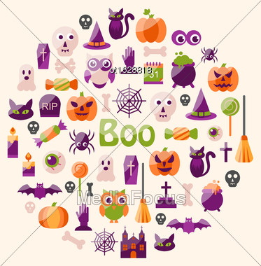 Illustration Halloween Colorful Flat Icons. Party Background - Vector Stock Photo