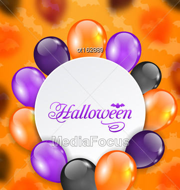 Illustration Halloween Greeting Card With Colored Balloons - Vector Stock Photo