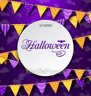 Illustration Halloween Greeting Card With Colored Bunting, Bright Background - Vector Stock Photo