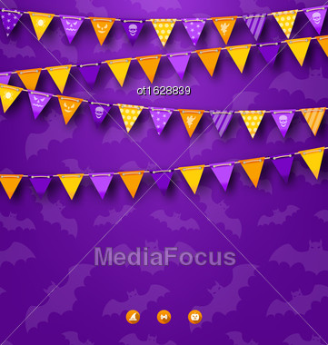 Illustration Halloween Party Background With Bunting - Vector Stock Photo
