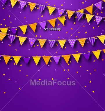 Illustration Halloween Party Background With Colored Bunting Pennants And Tinsel - Vector Stock Photo
