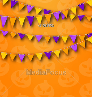 Illustration Halloween Party Background With Colored Bunting Pennants, Backdrop With Pumpkins - Vector Stock Photo