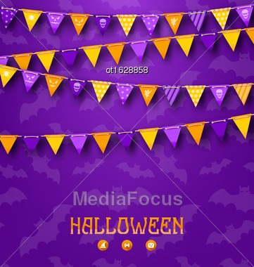 Illustration Halloween Party Background With Colored Bunting Pennants - Vector Stock Photo
