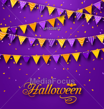 Illustration Halloween Party Background With Hanging Triangular String - Vector Stock Photo