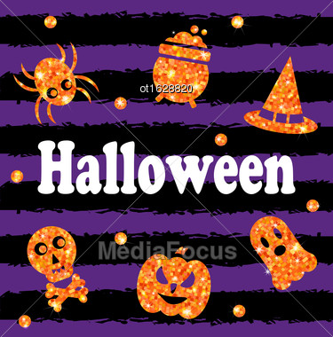 Illustration Halloween Party Banner With Shine Orange Traditional Icons. Holiday Template - Vector Stock Photo