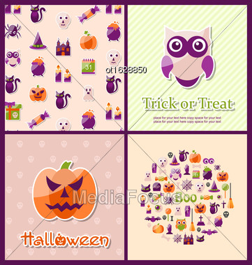 Illustration Halloween Postcards. Set Banners. Party Invitations With Flat Icons. Trick Or Treat - Vector Stock Photo
