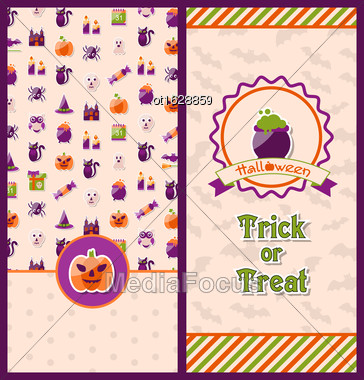 Illustration Halloween Postcards. Vertical Banners. Party Invitations With Flat Icons. Trick Or Treat - Vector Stock Photo