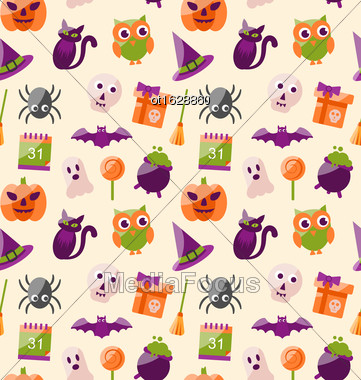 Illustration Halloween Seamless Pattern With Colorful Flat Icons. Abstract Holiday Wallpaper - Vector Stock Photo