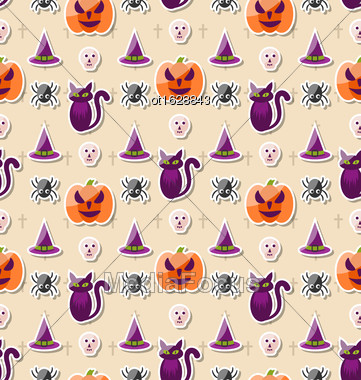 Illustration Halloween Seamless Pattern With Colorful Traditional Icons - Vector Stock Photo