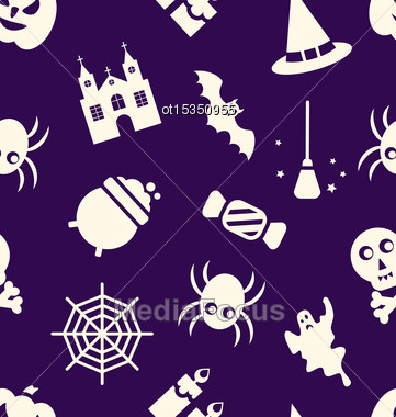 Illustration Halloween Seamless Pattern With Traditional Elements - Vector Stock Photo
