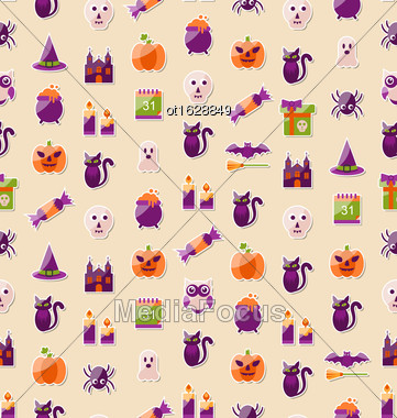 Illustration Halloween Seamless Texture With Colorful Flat Icons. Abstract Template For Wrapping - Vector Stock Photo