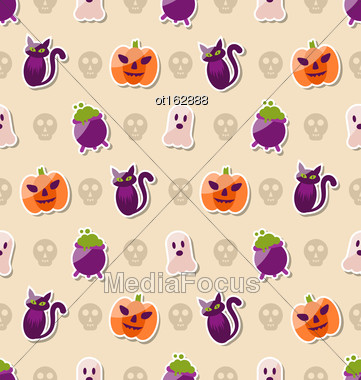 Illustration Halloween Seamless Texture With Colorful Flat Icons. Abstract Background - Vector Stock Photo