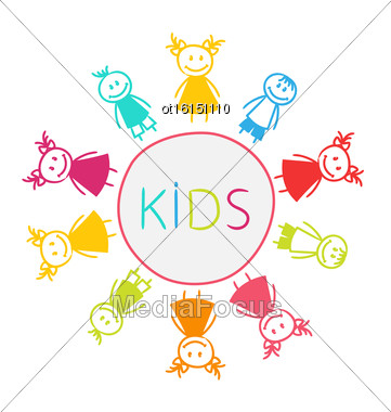 Illustration Hand-drawn Cute Funny Kids, Colorful Girls And Boys - Vector Stock Photo
