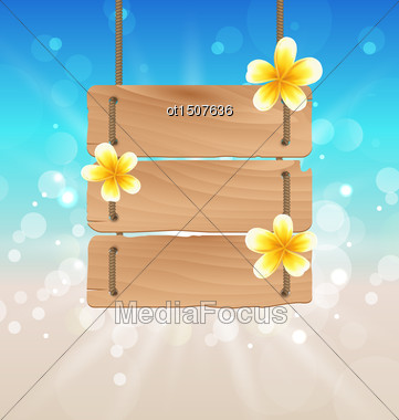 Illustration Hanging Wooden Signboard With Tropical Flowers Frangipani - Vector Stock Photo