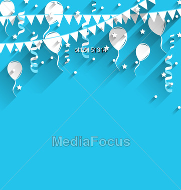 Illustration Happy Birthday Background With Balloons, Stars And Pennants, Trendy Flat Style - Vector Stock Photo