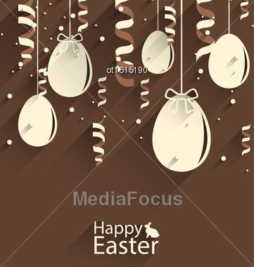 Illustration Happy Easter Chocolate Background With Eggs And Serpentine, Trendy Flat Style With Long Shadows - Vector Stock Photo