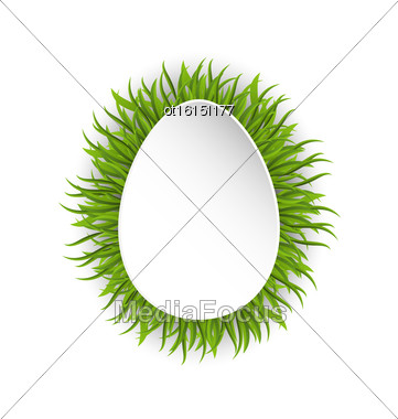 Illustration Happy Easter Paper Card In Form Egg With Green Grass - Vector Stock Photo