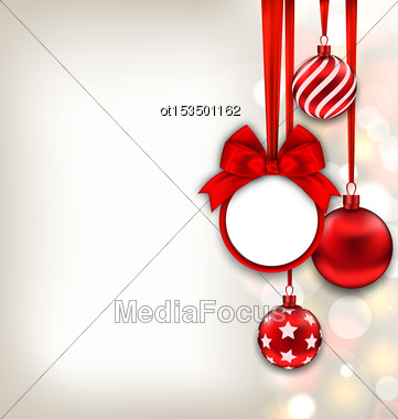 Illustration Happy New Year Background With Celebration Card And Glass Balls - Vector Stock Photo