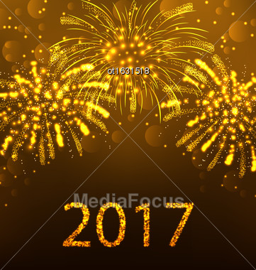 Illustration Happy New Year Fireworks 2017, Holiday Background Design - Vector Stock Photo
