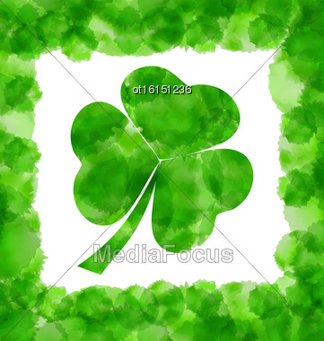 Illustration Happy Saint Patricks Day Watercolor Background With Clover - Vector Stock Photo