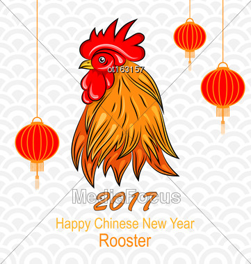 Illustration Head Of Rooster With Chinese Lanterns For Happy New Year. Holiday Postcard - Vector Stock Photo