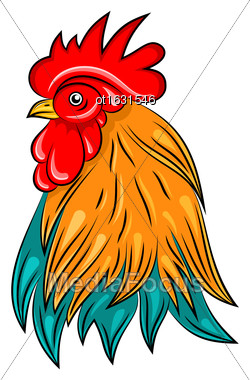 Illustration Head Of Rooster, Hand Drawn Style, Colorful Cock - Vector Stock Photo