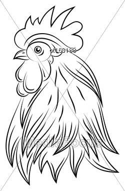 Illustration Head Of Rooster, Hand Drawn Style, Cock Isolated On White Background - Vector Stock Photo