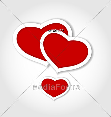 Illustration Hearts From Paper Valentines Day Card - Vector Stock Photo