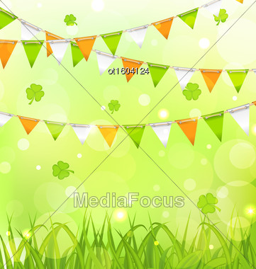 Illustration Holiday Background With Bunting Pennants In Irish Colors And Clovers For St. Patrick's Day - Vector Stock Photo
