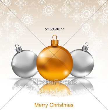 Illustration Holiday Background With Christmas Balls And Snowflakes - Vector Stock Photo