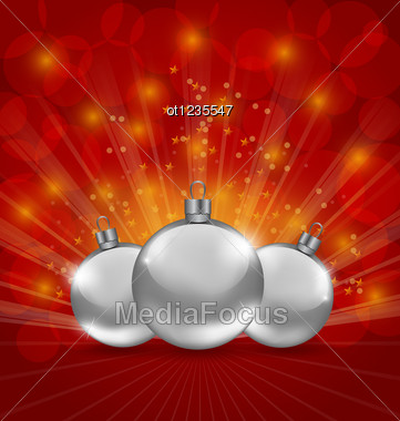 Holiday Background With Christmas Balls Stock Photo