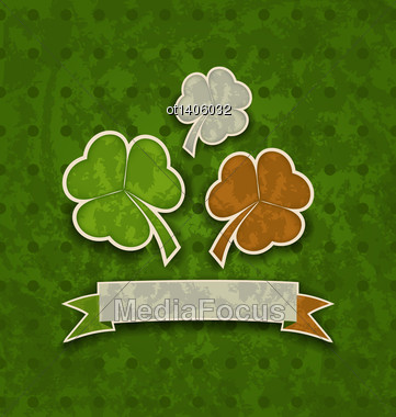 Illustration Holiday Background With Clovers In Irish Flag Color For St. Patrick's Day - Vector Stock Photo