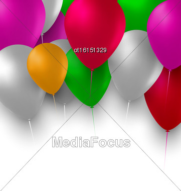 Illustration Holiday Background With Multicolor Balloons - Vector Stock Photo
