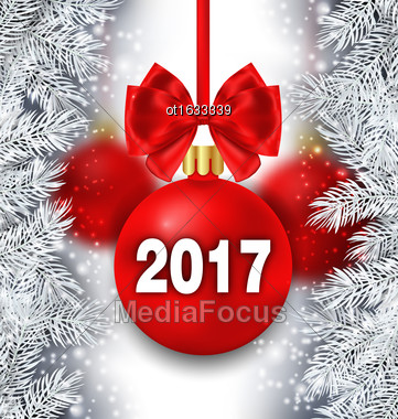 Illustration Holiday Background With Silver Fir Branches And Red Christmas Ball With Bow Ribbon For Happy New Year 2017 - Vector Stock Photo