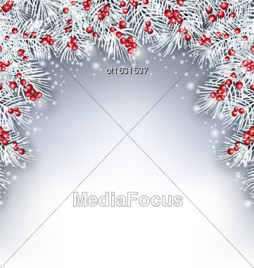 Illustration Holiday Background With Silver Fir Twigs And Holly Berries, Copy Space For Your Text - Vector Stock Photo