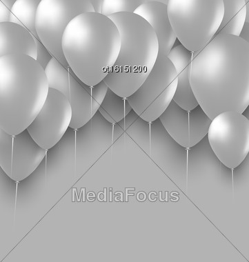 Illustration Holiday Background With White Balloons - Vector Stock Photo