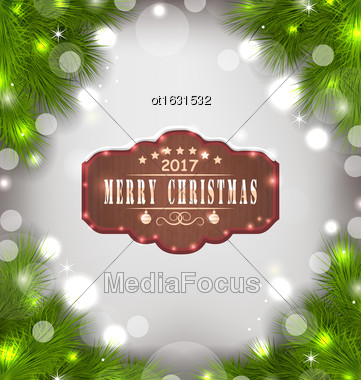 Illustration Holiday Banner With Fir Branches And Wooden Sign With Wishes, Christmas Background - Vector Stock Photo