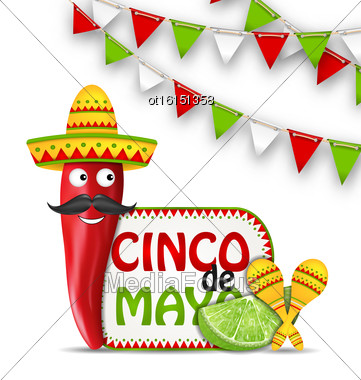 Illustration Holiday Celebration Background For Cinco De Mayo With Cartoon Character Of Chili Pepper, Sombrero Hat, Maracas, Piece Of Lime, Bunting Decoration With Traditional Mexican Colors - Vector Stock Photo