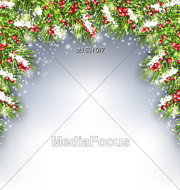 Illustration Holiday Decoration With Fir Branches And Holly Berries, Copy Space For Your Text - Vector Stock Photo