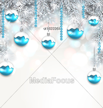 Illustration Holiday Fir Branches And Christmas Blue Balls, Copy Space For Your Text - Vector Stock Photo