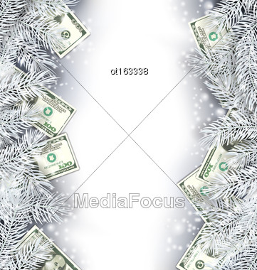 Illustration Holiday Frame With Fir Branches And Dollars, Copy Space For Your Text - Vector Stock Photo