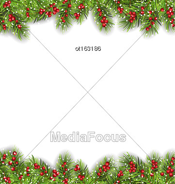 Illustration Holiday Frame With Fir Branches And Holly Berries, Copy Space For Your Text - Vector Stock Photo