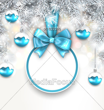 Illustration Holiday Glowing Background With Blank Card With Bow Ribbon And Silver Fir Branches, Christmas Balls - Vector Stock Photo