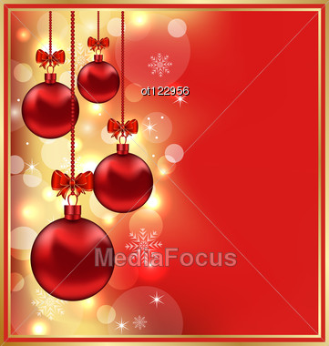 Holiday Glowing Background With Christmas Balls Stock Photo