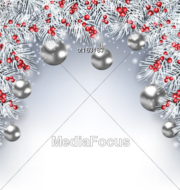 Illustration Holiday Glowing Background With Silver Fir Branches And Christmas Balls - Vector Stock Photo