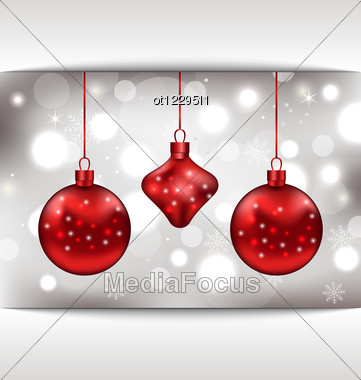 Holiday Glowing Card With Christmas Balls Stock Photo