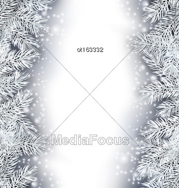 Illustration Holiday Glowing Frame With Fir Branches, Copy Space For Your Text - Vector Stock Photo