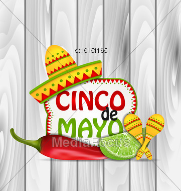 Illustration Holiday Greeting Background For Cinco De Mayo With Chili Pepper, Sombrero Hat, Maracas, Piece Of Lime - Vector Stock Photo