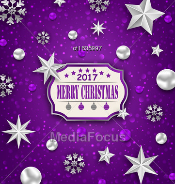 Illustration Holiday Silver Starry Background With Best Wishes - Vector Stock Photo