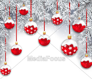 Illustration Holiday Snowing Background With Silver Fir Branches And Red Christmas Balls - Vector Stock Photo